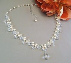 Bridal Necklace, Wedding Jewelry, Cream Pearl and Crystal Necklace, Crystal Teardrop Necklace, Choice of White or Ivory Pearls Available