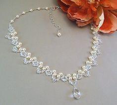 Bridal Necklace Wedding Jewelry Cream Pearl and by BridalDiamantes, $130.00