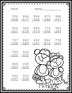 Need extra subtraction practice? These ten pages focus on three digit subtraction. Most problems require regrouping. No prep, just print and go. There is an answer key included. Math Addition Worksheets, Math Practice Worksheets, Printable Math Worksheets, School Worksheets, Math Exercises, Dear Students, Math Practices, Basic Math, Math For Kids