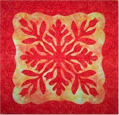 hawaiian quilt block, red and yellow - Nancy Chong
