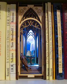 Elf Vally Bookshelf Insert Small Bookshelf, Bookshelves, 9 Volt Battery, Plexiglass, Little Library, Book Nooks, Beautiful Architecture, The Elf, Fantasy World