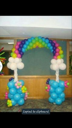 Need an expert at balloon sculptures? Contact us at Big Bash Events Rainbow Balloon Arch, Balloon Tower, Balloon Display, Love Balloon, Balloon Columns, Balloon Decorations, Birthday Decorations, Balloon Balloon, Balloon Ideas