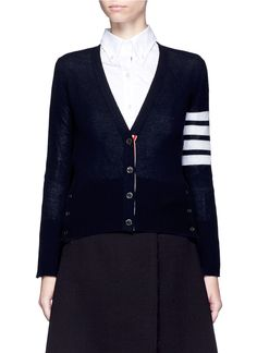 THOM BROWNE Stripe Sleeve Cashmere V-Neck Cardigan. #thombrowne #cloth #cardigan