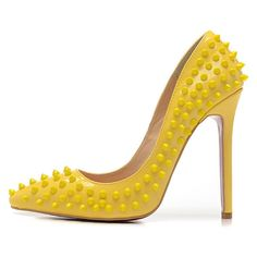 Posh Girl Bebe Bright Yellow Leather Studded Pumps ($128) ❤ liked on Polyvore featuring shoes, pumps, multi, studded high heel pumps, bright shoes, genuine leather shoes, bright yellow shoes and embellished shoes
