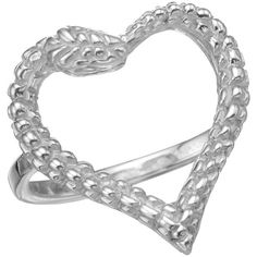 Zoe & Morgan Snake Heart Ring Silver ($135) ❤ liked on Polyvore