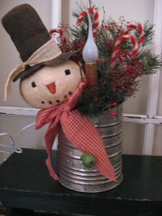 Primitive Christmas / Snowman Sifter Candle Light by annattic1, $18.75