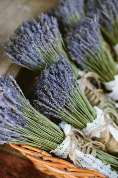 Lavender ties with twine and lace is very pretty. hanging while drying this way could add some decoration to potting shed!
