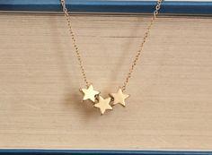 Triple Star Necklace, Lucky Stars Necklace,  Dainty Jewelery, Layering Piece