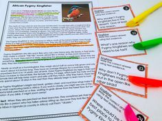 use task cards and cite evidence in text
