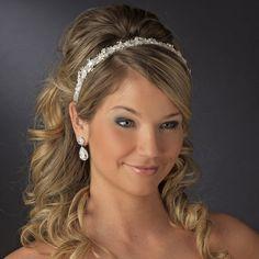 Antique #bridal ribbon headband featuring a sparkling rhinestone & genuine Austrian crystal headpiece. Free Shipping! #wedding #weddingplanning #bridaljewelry #bridalaccessories #jewelry #bridetobe