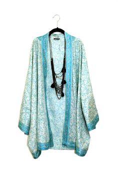 Silk kimono jacket / beach cover up / teal green kaftan style ...