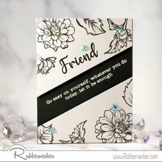 This stunning black and white card gets all its glam from the imagery offered by one of our BRAND NEW stamp sets. Our clear layered floral stamp sets are very popular and we added some very special greetings just for friends to a couple of them. There are FOUR new sets with coordinating dies and four MORE stamp sets for spring and Easter - come on over and check out the projects!