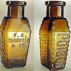 Antique Poison Bottle Hall of Fame Old Medicine Bottles, Antique Glass Bottles, Antique Glassware, Vintage Perfume Bottles, Bottles And Jars, Potion Bottle, Canning Jars, Mason Jars, Apothecary Jars