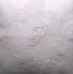 Whitework honeysuckle cushion: hand embroidered in embroidery cotton on pure linen