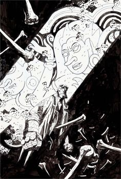 Original cover art by Mike Mignola from Hellboy Premiere Edition, published by Dark Horse Comics and Wizard magazine, 2004.
