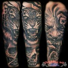 Skull, tiger and the beast. Tattoos For Guys, Cool Tattoos, Awesome Tattoos, Tattoo Design Drawings, Tattoo Designs, Tiger Tattoo, Tattoo Ink, Tiger Skull, Bali