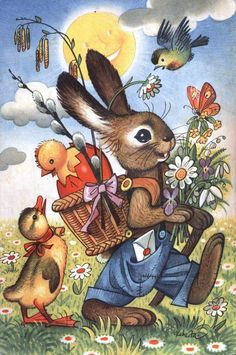 Vintage Easter Bunny is On His Way Card - vintage gifts retro ideas cyo Easter Art, Easter Crafts, Easter Eggs, Easter Ideas, Vintage Easter, Vintage Holiday, Vintage Gifts, Old Illustrations, Lapin Art
