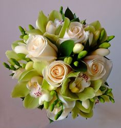 White and Green Wedding Bouquets - Created by Dahlia Floral Design