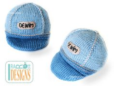 Jeans Inspired Hand Knit DENIM Cap for Newborns READY to SHIP