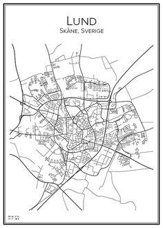 Lund. Skåne. Sverige. Karta. City print. Print. Affisch. Tavla. Tryck.