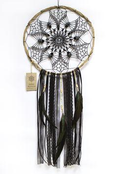 "Black Doily Dreamcatcher 11"" - Crochet Boho Wall Decor with Beautiful Handmade Lace - Hippie Dream Catcher"