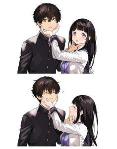 Chitanda and Oreki [Hyouka] Couple Amour Anime, Couple Anime Manga, Anime Love Couple, Anime Couples Manga, Cute Anime Couples, Manga Anime, Kawaii Anime, Loli Kawaii, Otaku Anime