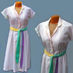 Dress 70s vintage pastel trim white cotton small by pinehaven2, $28.50
