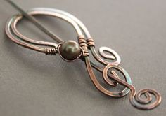 Scarf pin or shawl pin in copper paisley shape with por IngoDesign