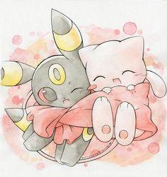 Pokemon, chibi Espeon & Mew