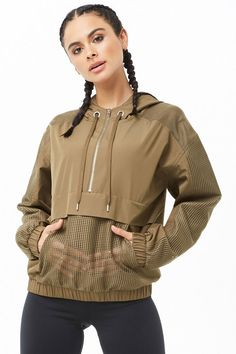 Active Hooded Mesh Anorak - Women's style: Patterns of sustainability Sporty Outfits, Fashion Outfits, Sport Fashion, Womens Fashion, Anorak Jacket, Bomber Jackets, Mode Streetwear, Active Wear For Women, Sport Wear