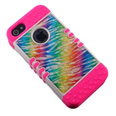 Crystal Rainbow Zebra Pink KoolKase Rocker Hybrid Case Cover For iPhone 5s 5 #RockerKoolKaseCellArmor