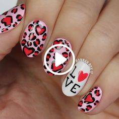 How to Get a Leopard Hearts Manicure darbysmart beauty nailpolish nailart naildiy naildesign nailtutorial Cute Nail Art, Nail Art Diy, Easy Nail Art, Diy Nails, Manicure, Nail Art Designs Videos, Nail Art Videos, Nail Designs, Diy Videos
