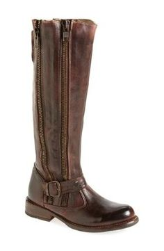 Antiqued goldtone zippers further the earthy style of a slightly slouched tall boot shaped from distressed, hand-finished leather. Color(s): teak rustic. Brand: BED STU. Style Name: Bed Stu 'Tango' Boot (Women). Style Number: 75846. Available in $185.96 by nordstrom