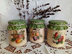 Ирина Пирогова Jar Crafts, Bottle Crafts, Diy And Crafts, Decoupage Glass, Decoupage Ideas, Painted Jars, Bottles And Jars, Sweet Nothings, Dose