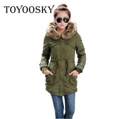 52.72$  Buy here - http://ali0cv.worldwells.pw/go.php?t=32746449385 - TOYOOSKY 2016 New Winter Jacket Women Adjustable Waist Army Green Jackets Thick Parkas Raccoon Fur Collar Coat Hooded Outwear