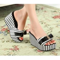 Wholesale 2012 Japanese style bowknot color matching slippers CZ-0734 black - Lovely Fashion