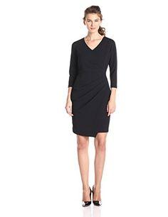 57 best women office wear images in 2017 Office Outfits Women, Office Fashion Women, Office Dresses, Draped Dress, Office Wear, Women's Fashion Dresses, Work Wear, Dress Black, How To Wear