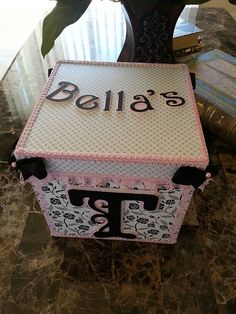 Merveilleux Pink And Black Personalized TuTu Storage Box / By AniyasPlayground