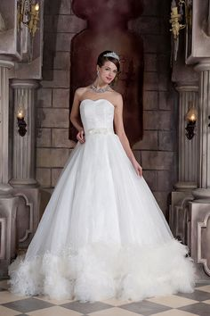 A-line Sweetheart Satin Organza Sweep/Brush Train Wedding Dress