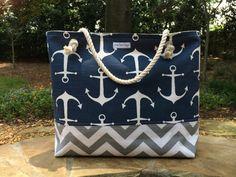 Anchor Beach Bag, Large Tote, Chevron Tote, Monogram Beach Bag                                                                                                                                                      More