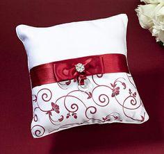 Red & White Ring Bearer Pillow