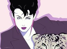 Patrick Nagel art. These are still on some beauty shop windows :)