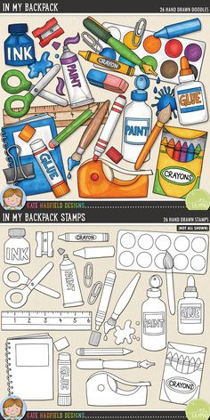 School supplies digital scrapbooking elements | Cute art materials clip art | Hand-drawn illustrations for digital scrapbooking, crafting and teaching resources from Kate Hadfield Designs! Click through to see projects created using these illustrations!