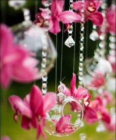 Orchids & crystals....add a few Fairy Berries for some drama later in the day