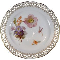 KPM Hand Painted Porcelain Plate with Flowers and Dragonfly, C.1849-1870.