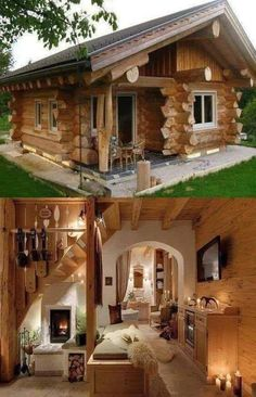 Most Popular Modern Dream House Exterior Design Ideas > RealHomeSimple.Com The post Most Popular Modern Dream House Exterior Design Ideas 11 appeared first on dream house. Tiny House Cabin, Log Cabin Homes, Tiny House Plans, Small Log Cabin, Tiny Log Cabins, Cottage House, Home Design, Tiny House Design, Design Ideas