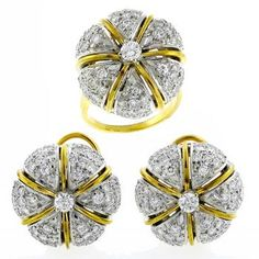 Vintage 6.00ct Round Cut Diamond 14k Yellow and White Gold Ring and Earrings Set - See more at: http://www.newyorkestatejewelry.com/earrings/1960s-6.00ct-diamond-gold-ring-and-earrings-set-/25174/5/item#sthash.s09kcaPD.dpuf