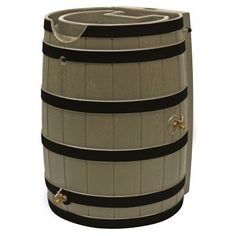 Good Ideas Rain Wizard 65 Gallon Darkened Ribs Rain Barrel