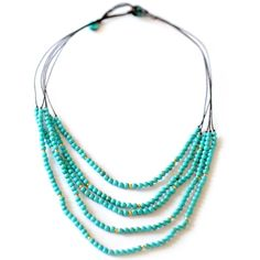 Beaded Turquoise Necklace This would look good with silver beads instead of gold. Then it could be layered with silver necklaces.