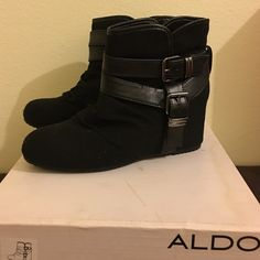 Bootie wedges Excellent condition bootie wedges in box. Worn once. ALDO Shoes Wedges